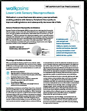 Walkasins Wearable Sensory Prosthetic | Information for Prescribers Handout